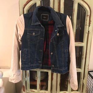 Rails Suede Sleeve Denim Jacket